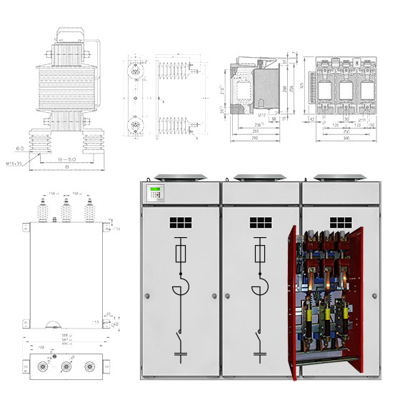 SYSTEM ELECTRIC: Capacitor banks, filter circuit reactors, current limiting reactors, high-voltage fuses, vacuum contactors